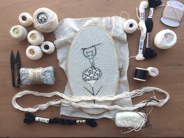 Miga De Pan Embroidery Classes at Loop, London 2015. Little cat. www.loopknitlounge.com