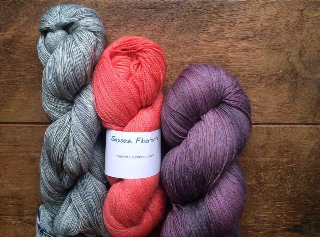 Madelinetosh Prairie in Aura, Squoosh Merino Cashmere Lace in Mango, Wollmeise Lace