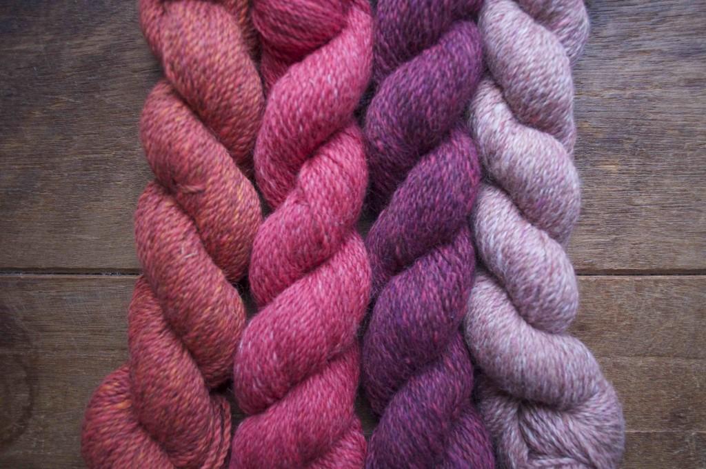 Loop Alpaca Tweed. Burnt Tangerine, Ice Lolly, Mulberry, Vintage Pink