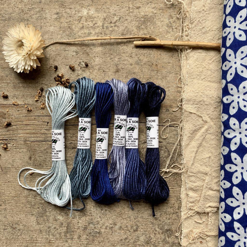 Au Ver A Soie denim silk set at Loop London