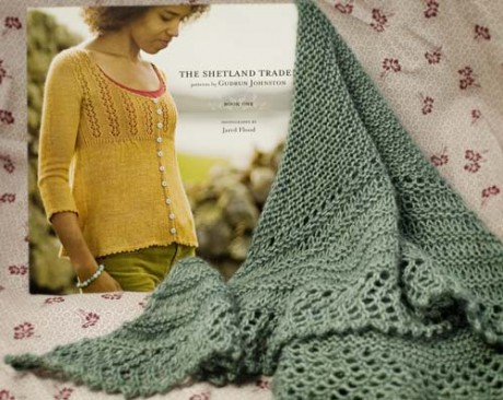 Simmer Dim Shawl with The Shetland Trader book