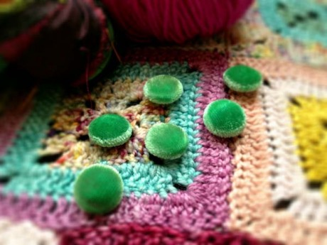 Hand-dyed Velvet Buttons at Loop