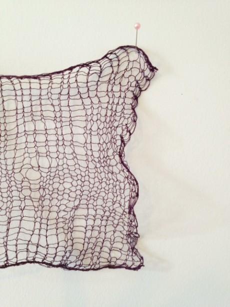 Habu Silk Stainless Steel in plain stocking stitch.