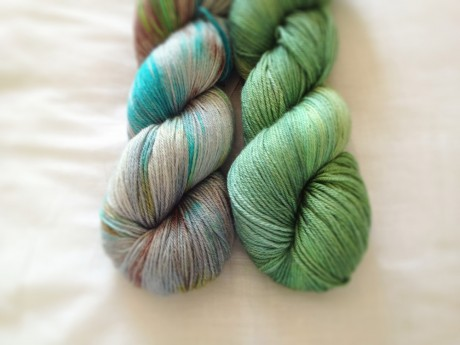 Skein Merino Silk Sport in Opaque and Envy