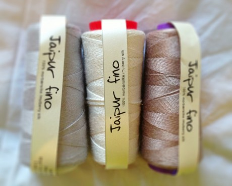 BC Garn Jaipur Silk Fino in Pewter, Cream and Mauve Mushroom
