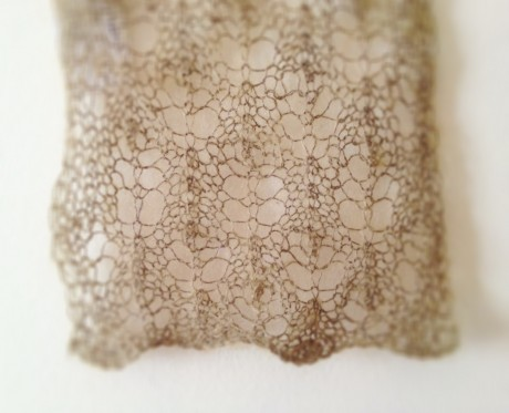 Silk Mohair Kusa (colour 22 Gobaishi) knit in a simple lace pattern