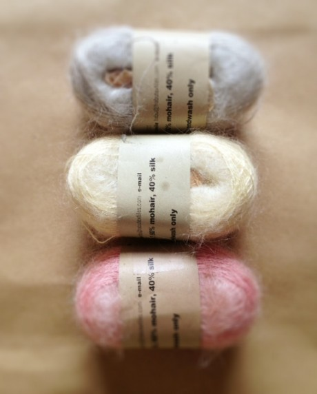 Habu Silk Mohair Kusa at Loop (top-bottom: colour 2, colour 7, colour 32)
