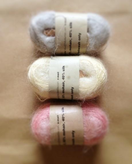 Habu Silk Mohair Kusa at Loop (top-bottom: colour 2, colour 7, colour 32)