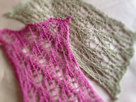 The pink swatch is Habu Non Twist Cotton Boucle and left is Habu Bamboo Lace
