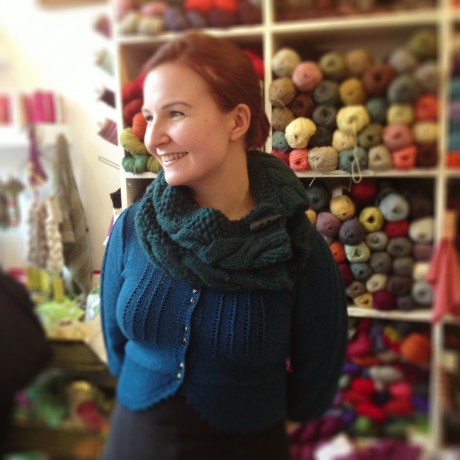Jemima modelling the Grey Owl Cowl at Loop!
