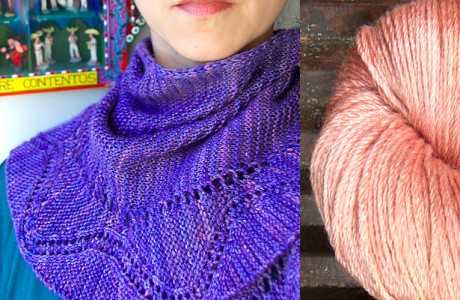 Charm by Juju Vail in Kettle Yarn Co. 'Islington'. L=Felix, R=Smokey Peach. Image Courtesy of Kettle Yarn Co.