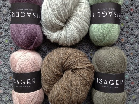 Isager Alpaca 1 CW from  top L = 52 Plum, 46 Seagreen, 61 Dusty Pink Melange, 23 Mouse. Tvinni Tweed - Top = 2s Light Natural Grey, Bottom = 8s Brown