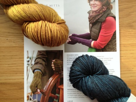 Ferryboat Mitts by Churchmouse, and Lush Worsted in L Golden Praline and R Naval Officer