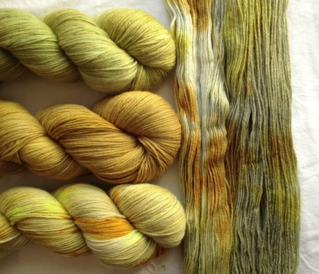 Top - Bottom = Wild Apple, Keen As Mustard, Sunspot Unwound Skein Right = Lemongrass