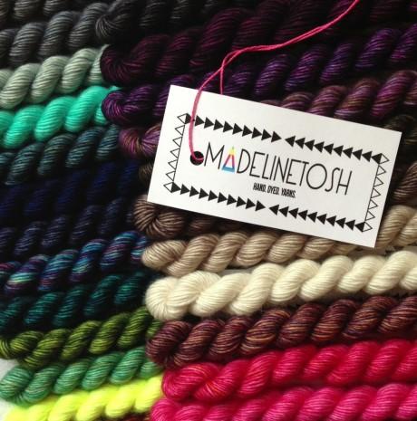 Madelinetosh Unicorn Tails Mini Skeins Rainbow! Loop, London. www.loopknitlounge.com