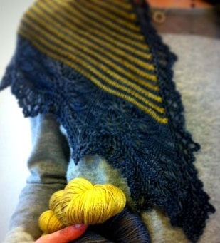 Andrea's Shawl - Sample knit with Skein Merino Cashmere in Urban and Daisy