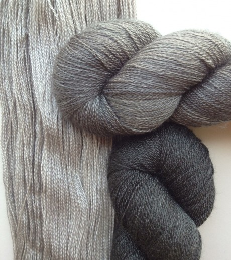 Steel (unwound skein), Charcoal (top) and Coal (below)