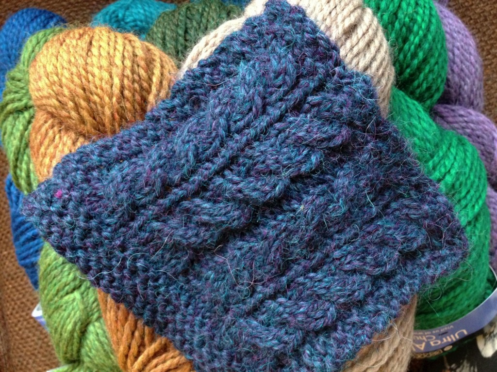 Ultra Alpaca Chunky in 7288 Blueberry Mix. Staircase Cables