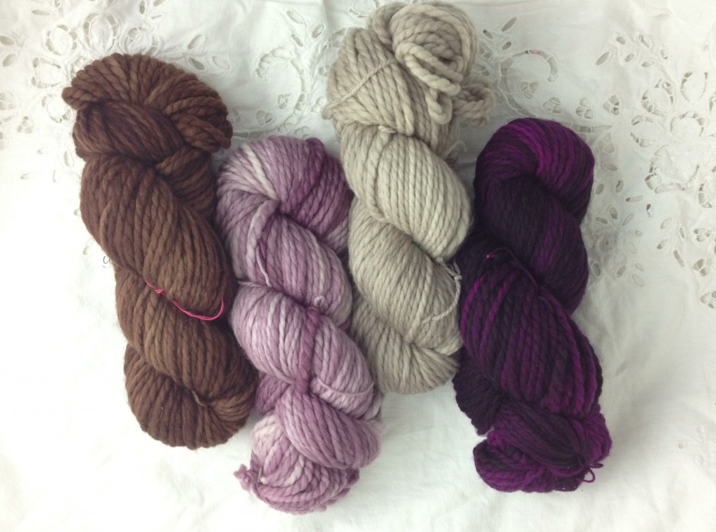 Madelinetosh Home, L-R Log Cabin Brown, Sugar Plum, Antique Lace, Purple Basil. Loop, London. www.knitlooplounge.com