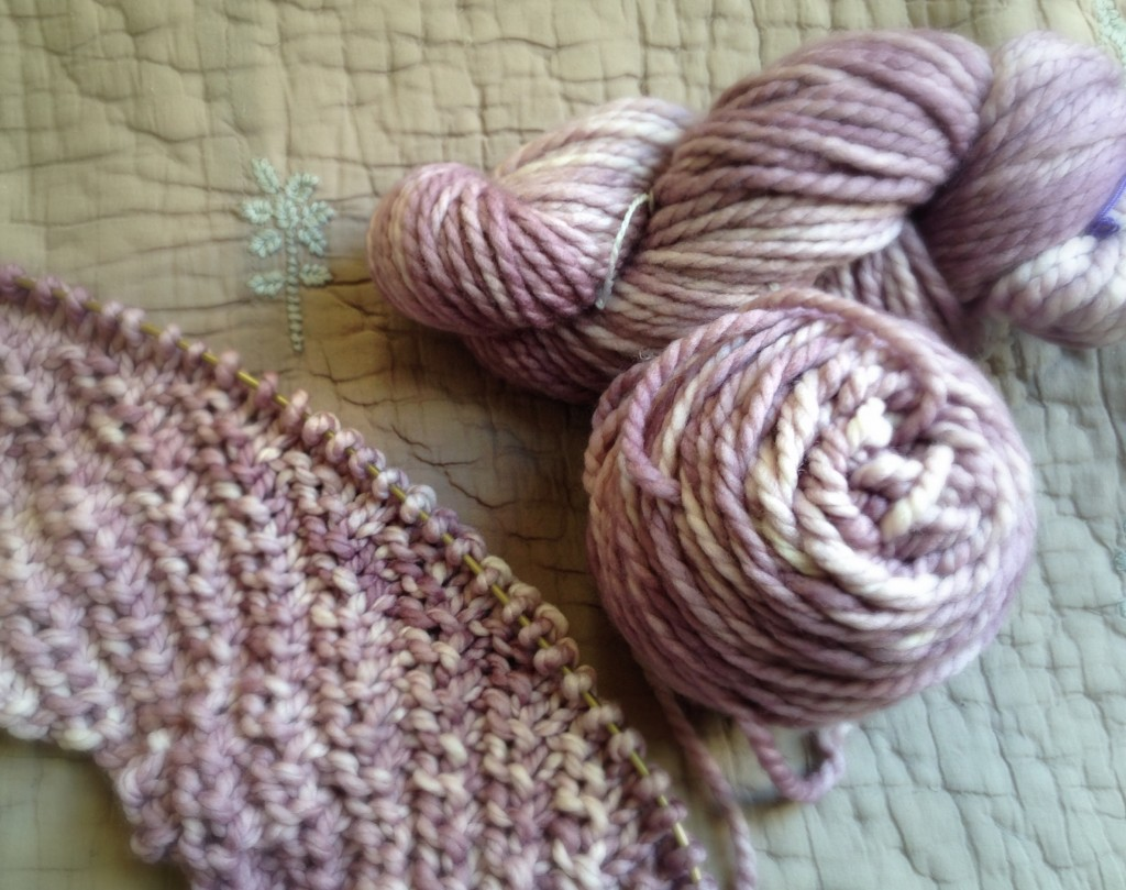 Madelinetosh Home in Sugar Plum - Patter coming soon to Loop! Loop, London.www.loopknitlounge.com
