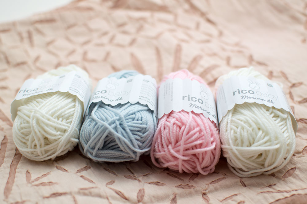 Rico Merino Baby DK. 001 White, 005 Light Blue and 003 Rose