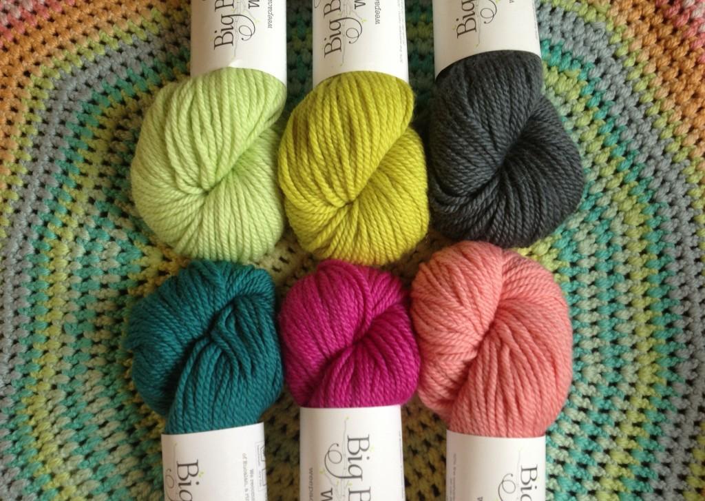 Big Bad Wool Weepaca. CW from top left- Leaf, Mustard, Charcoal , Coral, Girly Girl, Teal. www.loopknitlounge.com Loop, London