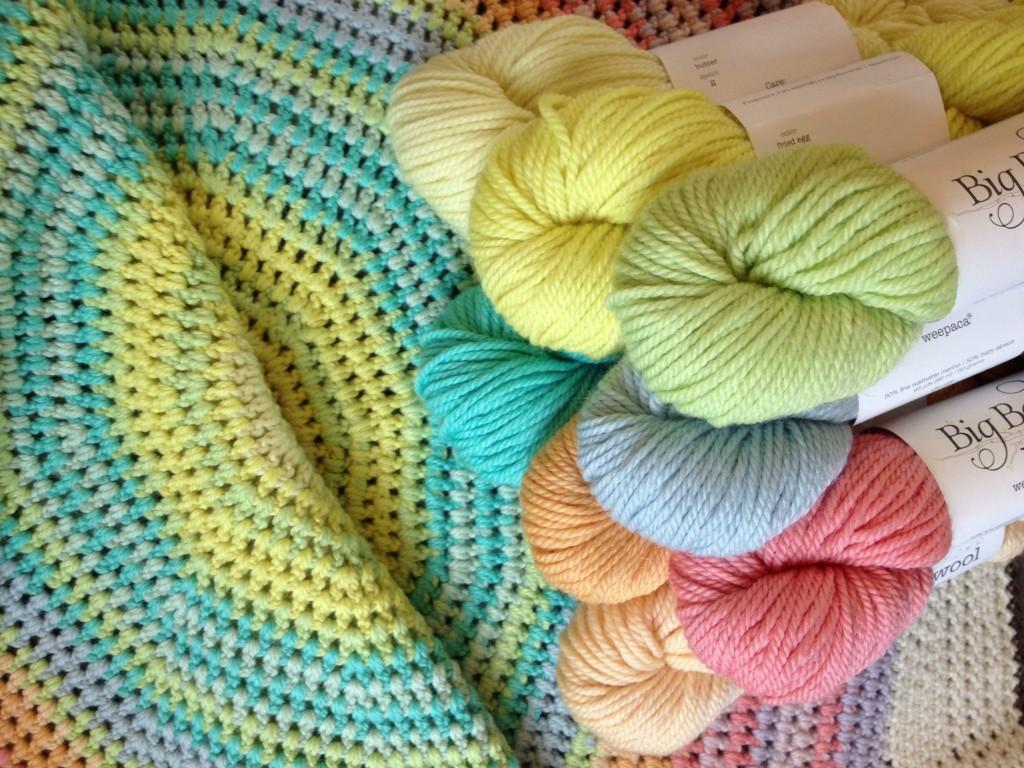 Colour Wheel Blanket with Big Bad Wool Weepaca. Loop, London