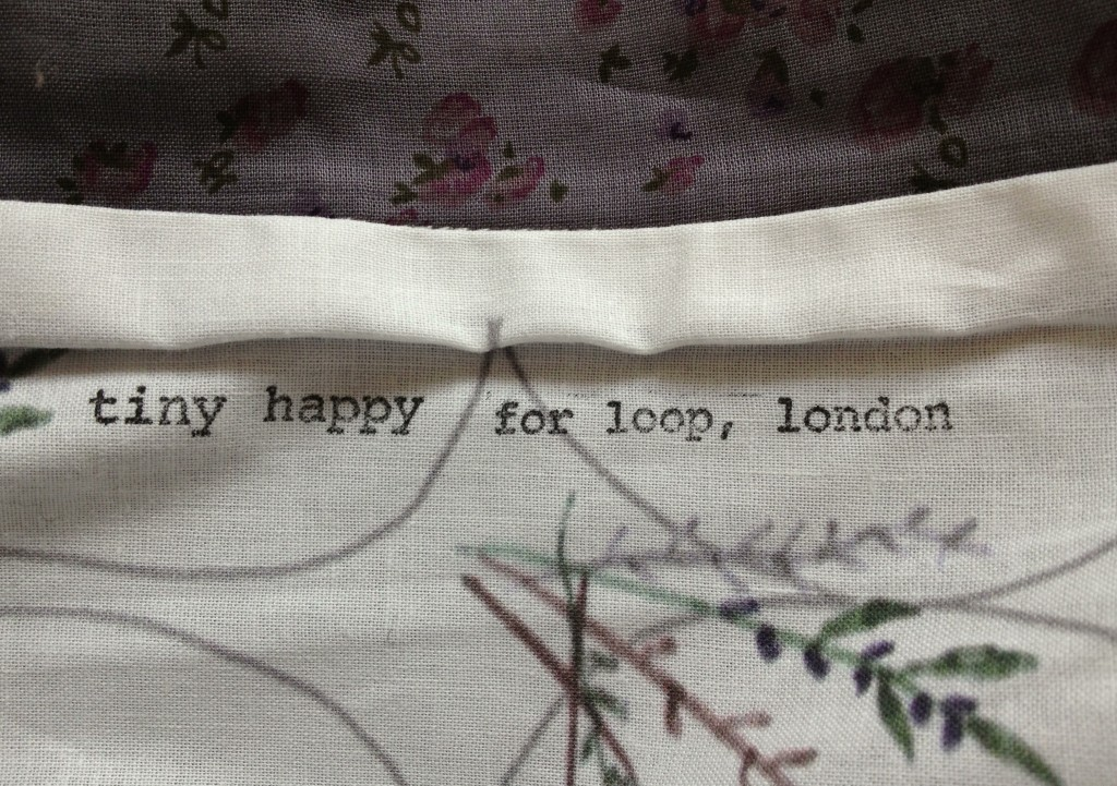 Hand printed Tiny Happy Project Bags for Loop, detail. Loop, London