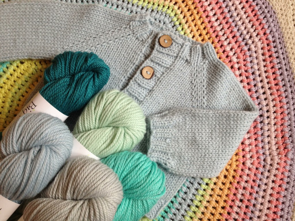 Wee Cardie and Big Bad Wool Weepaca . CW from top Teal, Minty, Water, Ashes, Blue Eyes.