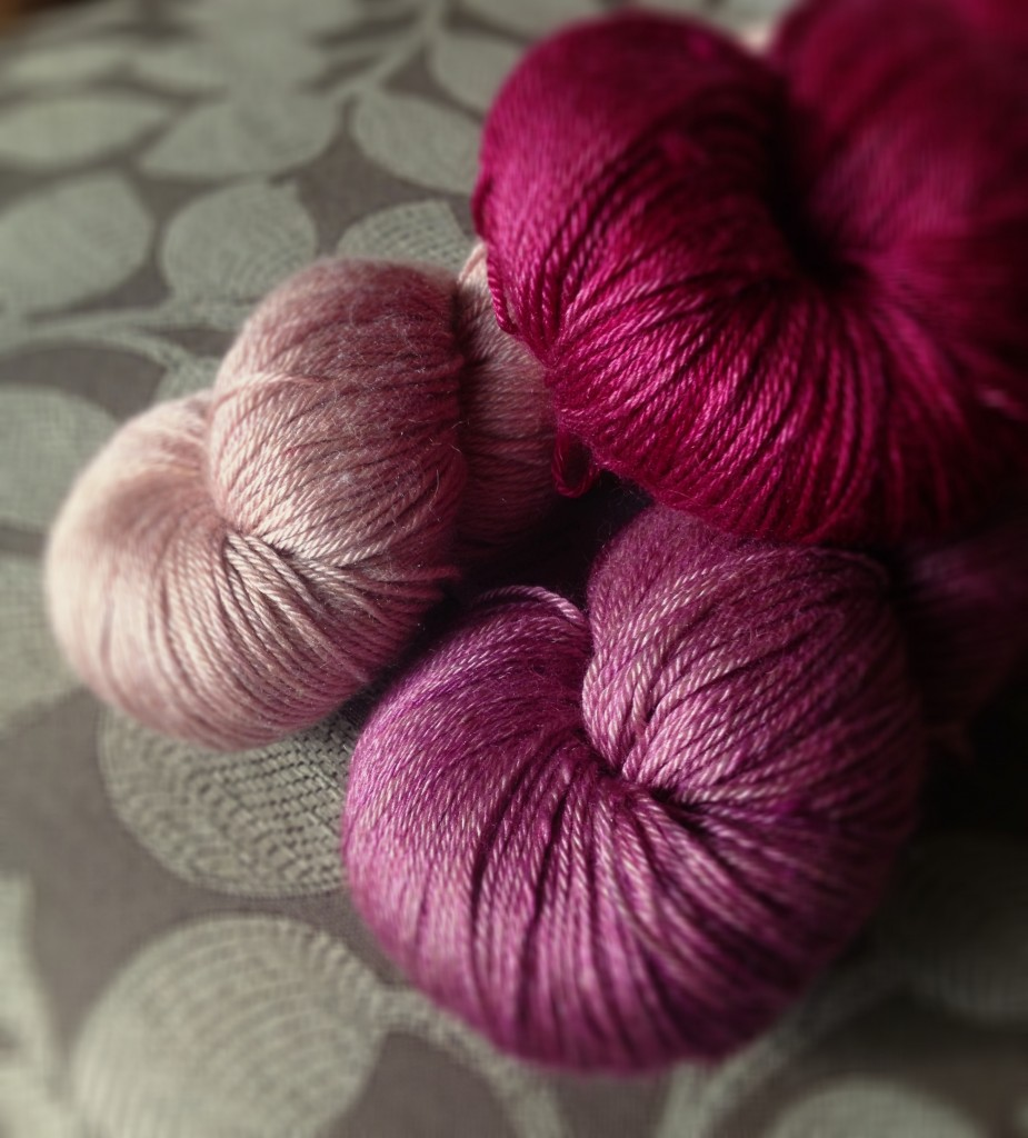 Kismet Refuge Blush, Rhubarb, Lady Slipper. www.loopknitlounge.com Copyright of Loop, London
