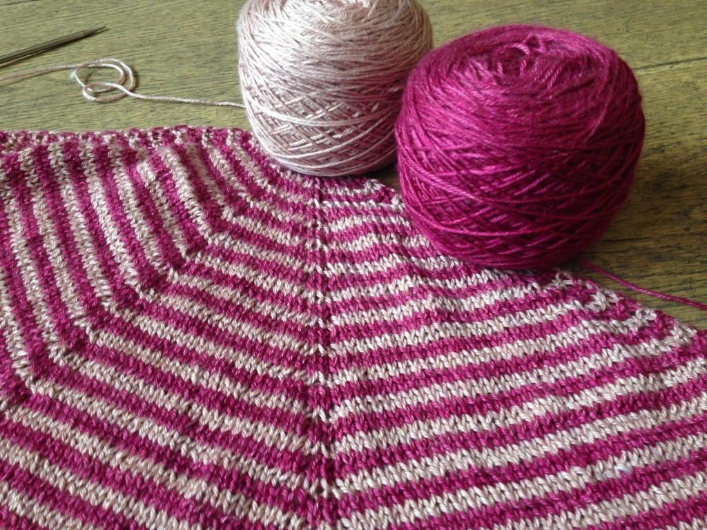Stripey Wintermute in Kismet Refuge Rhubarb and Blush. Loop, London. www.loopknitlounge.com