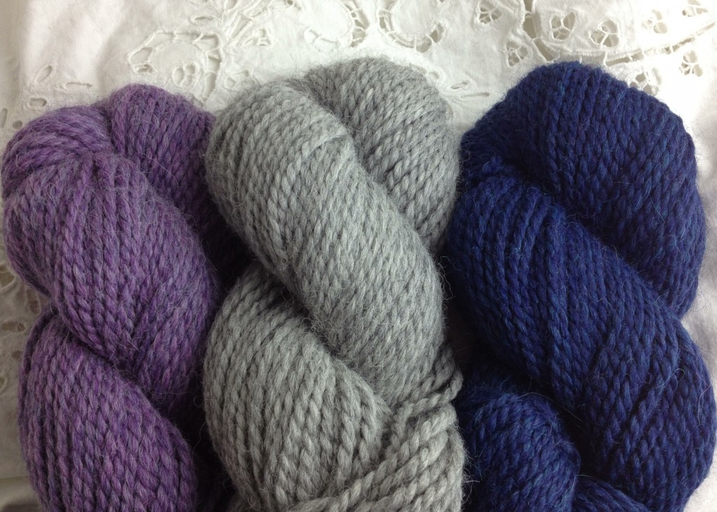 Berocco Ultra Alpaca Chunky L-R 7283 Lavender Mix, 7206 Light Grey, 72182 Indigo Mix