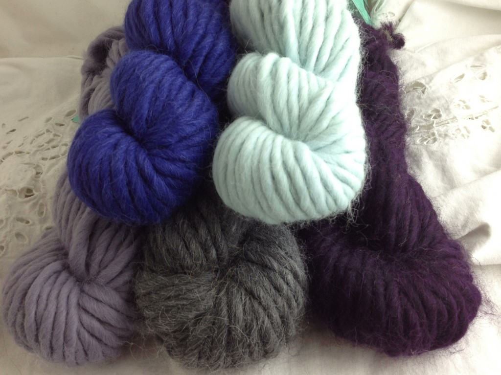 Blue Sky Alpacas Blue Sky Bulky CW from Top L - 1226 Marine, 1211 Frost, 1221 Boysenberry, 1007 Grey Wolf, 1213 Jasmine. www.loopknitlounge.com Loop, London