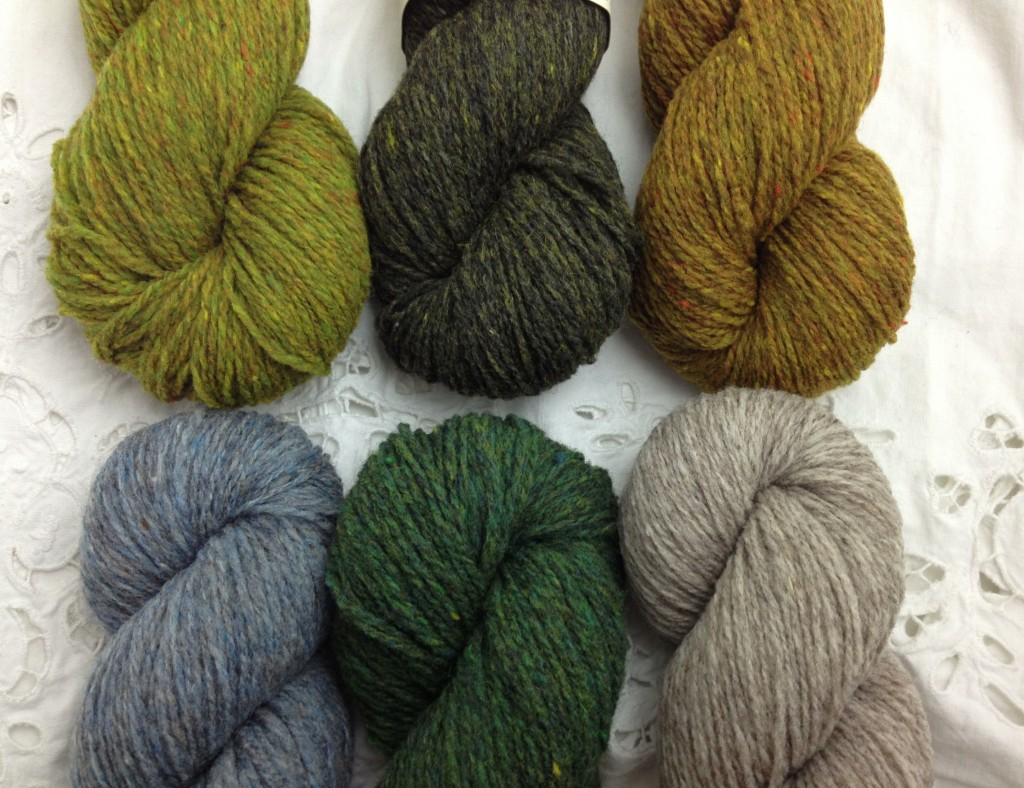 Brooklyn Tweed Loft (CW from Top Left) Sap, Artifact, Hayloft, Woodsmoke, Button Jar and Faded Quilt