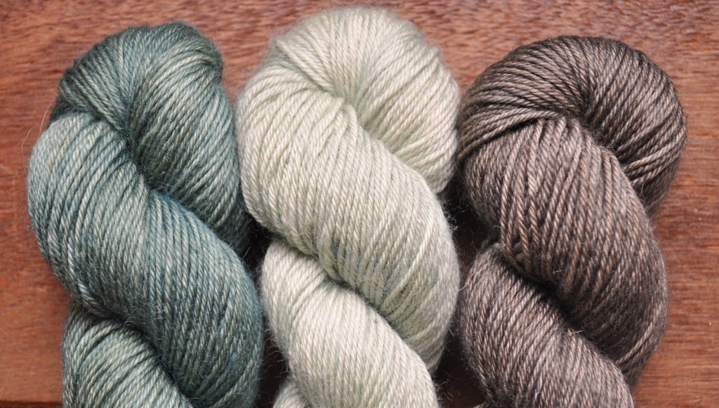 Eden Cottage Bowland DK (L-R) Hyssop, Misty Woods, Charcoal