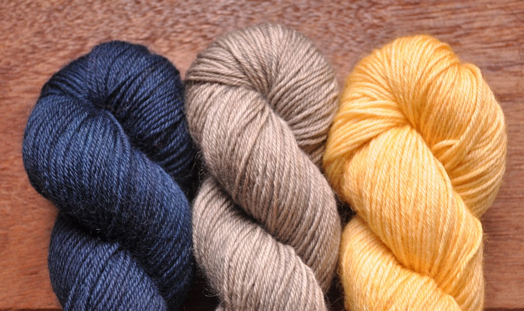 Eden Cottage Bowland DK (L-R) Midnight, Steel, Harvest Gold