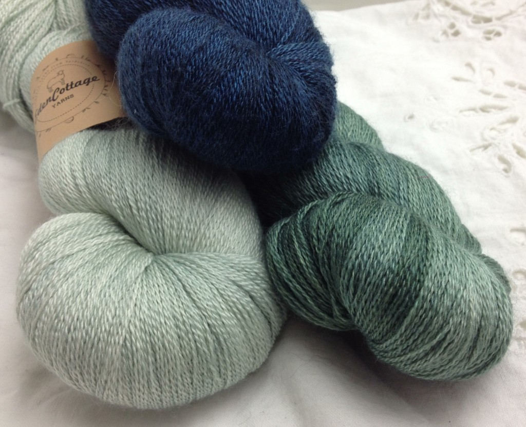 Eden Cottage Theseus Lace. CW From Top Midnight, Hyssop and Silver Birch.