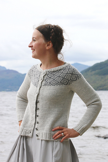 Epistrophy from Yokes by Kate Davies. Knit in Toft Ulysess DK Silver and Steel. Photo copyright of Kate Davies Design