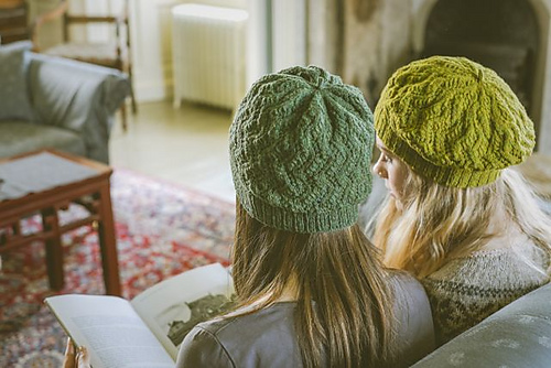 Hermaness Hats from Shetland Trader Book Two.Knit in Brooklyn Tweed Loft in Button Jar and Sap. Photocopyright of Gudrun Johnston/Kathy Cadigan