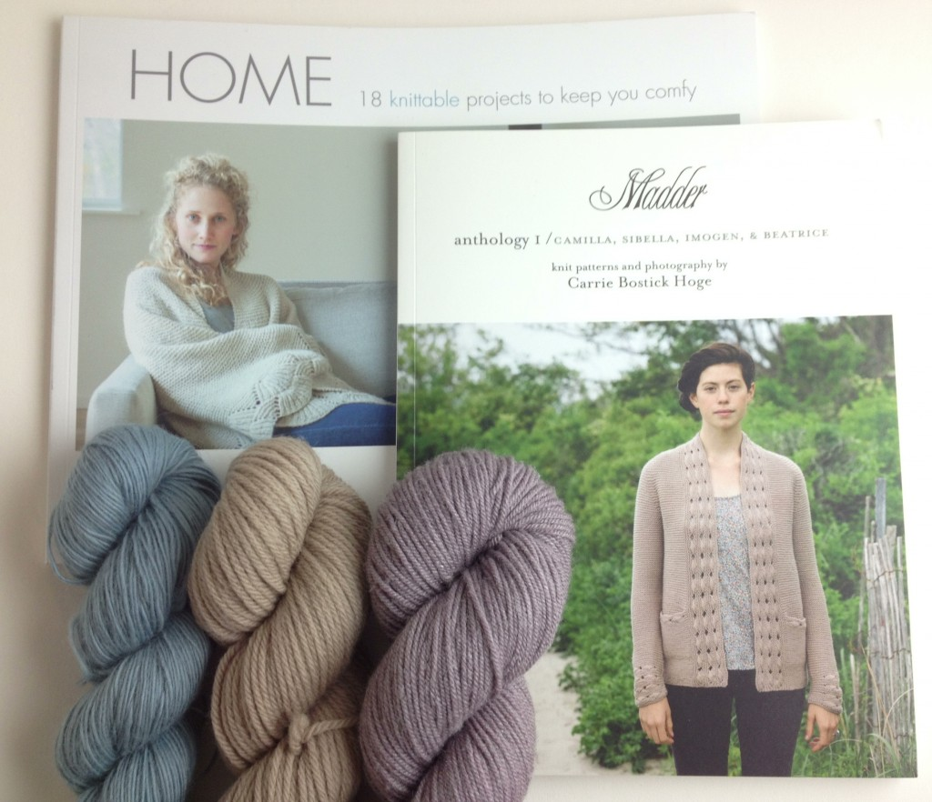 Home and Madder Anthology with beautiful selection of Quince & Co Yarns - Piper in Guadalupe, Lark in Chanterelle and Tern in Dusk. Loop, London. www.loopknitlounge.com