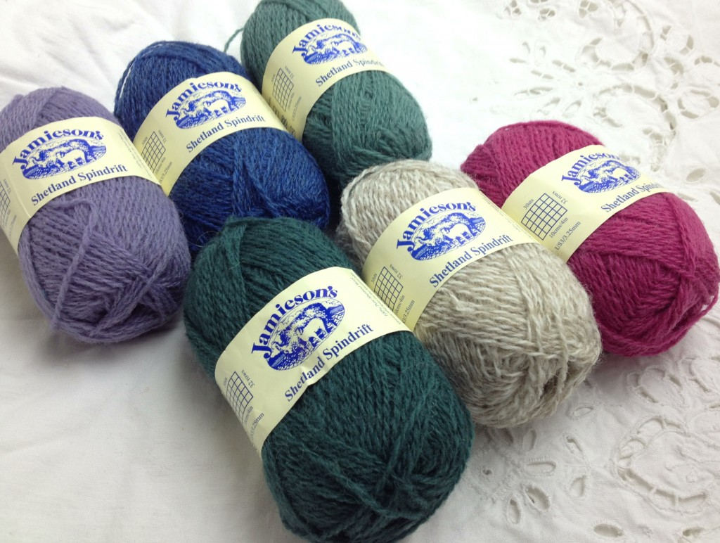 Jamiesons Shetland Spindrift (CW from Top Left) Hyancith 615, Clyde Blue 168, 794 Eucalptus, Lipstick 575, Mooskit:White 114, Rosemary 821