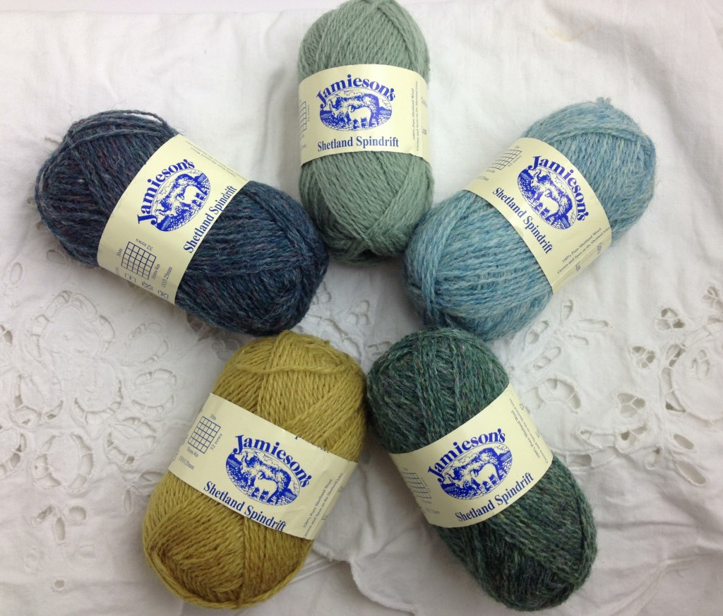 amiesons Shetland Spindrift. Cw from Top. Willow 769, Surf 135, Turf 144, Gold 289, Titanic 151.