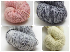 Madelinetosh Merino DK. CW from top Left. Molly Ringwald, Tern, Antler, Silver Fox.
