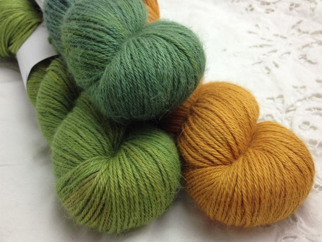 Old Maiden Aunt Alpaca Silk Sport:Fine DK. CW from Top - Bitter Bug, Pumpkin Pie, Ghillie Dhu.