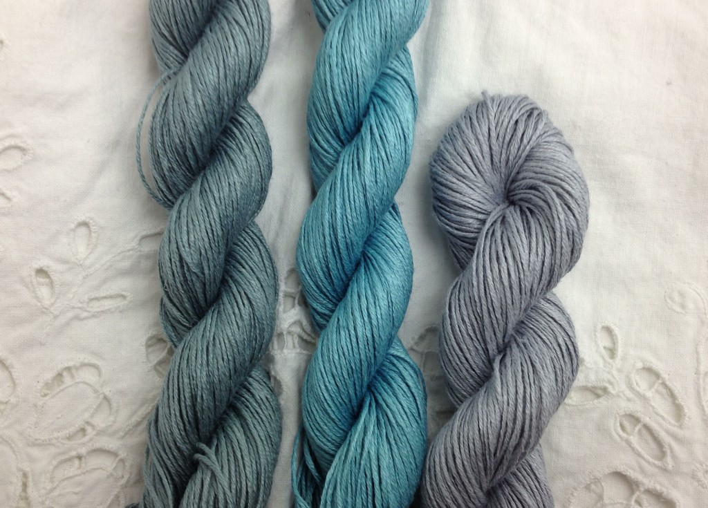 Quince & Co. Sparrow (L-R) Blue Spruce, Eleuthera, Birch. Loop, London. www.loopknitlounge.com