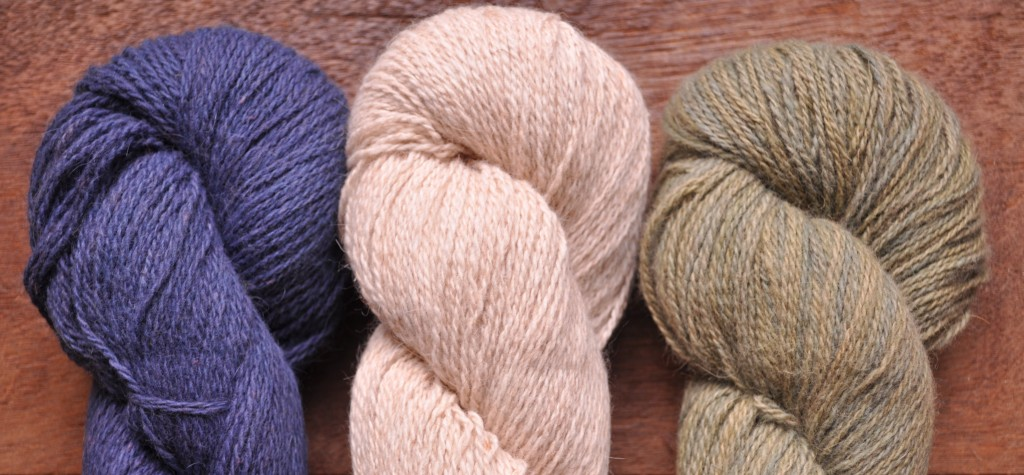 Shilasdair Luxury DK (L-R) Blaeberry, Fleece Cloud, Spring Forest