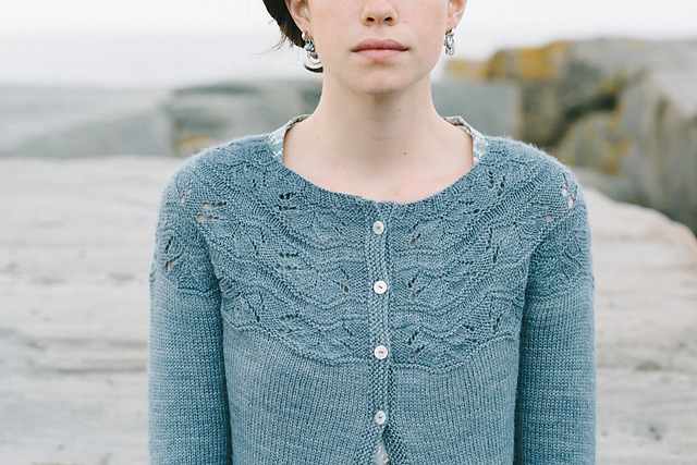 Sibella Cardigan in The Fibre Company Canopy Fingering from Madder Anthology by Carrie Bostick Hodge. Photocopyright of Carrie Bostick Hodge.