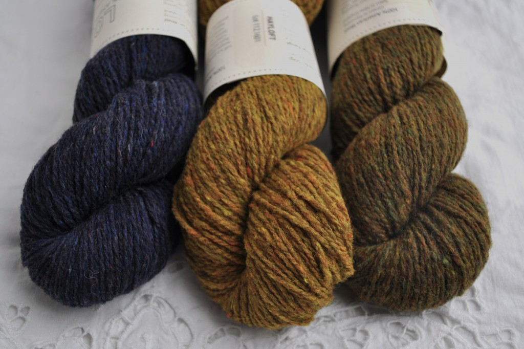 Brooklyn Tweed Loft (L-R) Old World, Hayloft and Fauna