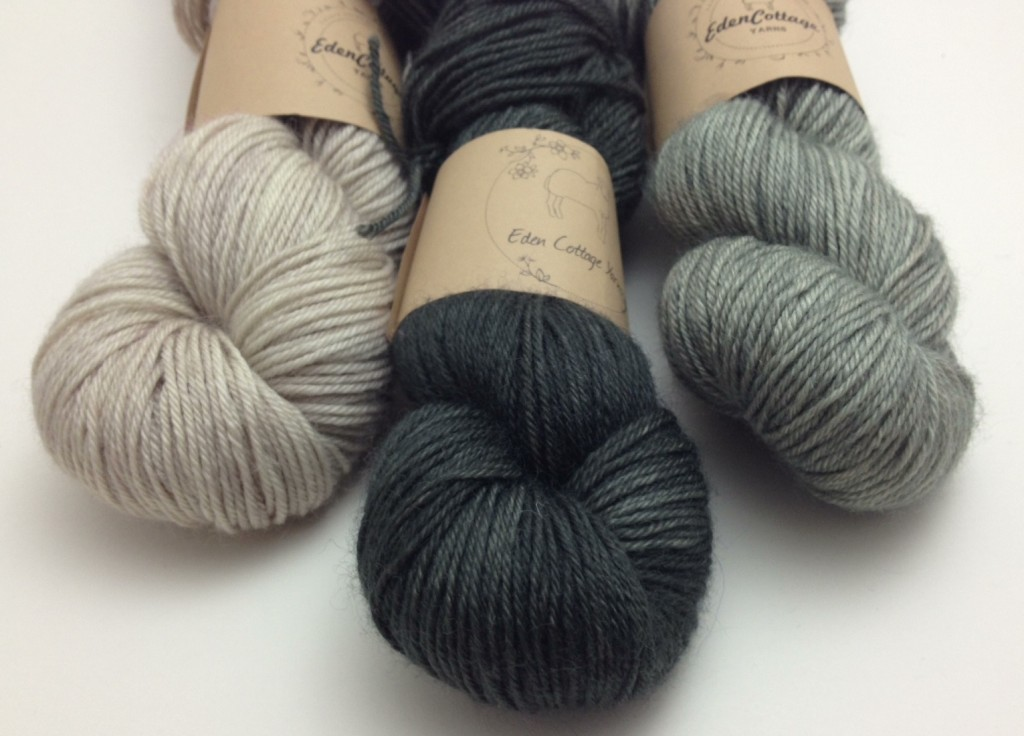 Eden Cottage Yarns, Bowland DK (L-R) Stone, Charcoal, Steel.