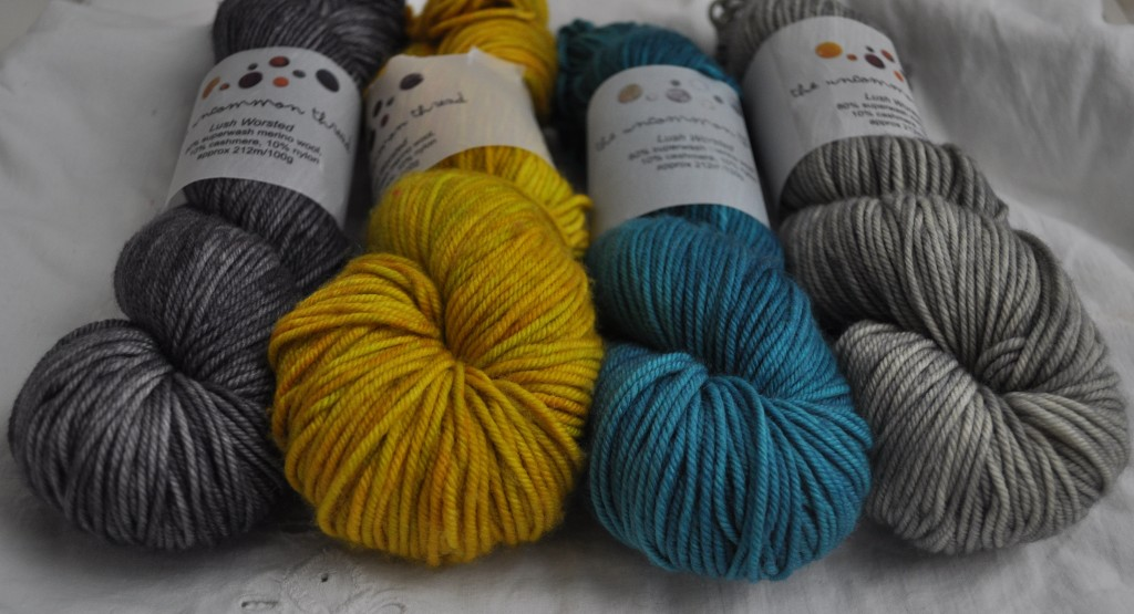 Uncommon Thread Lush Worsted (L-R) Baby Elephant Walk, Capsicum, Mermaid, Olive Leaf.